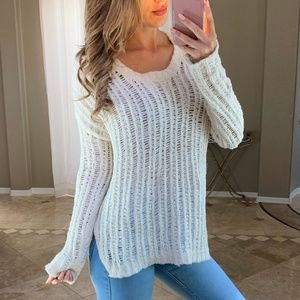 Nordstrom Lush Chunky Ivory Open Knit Sweater